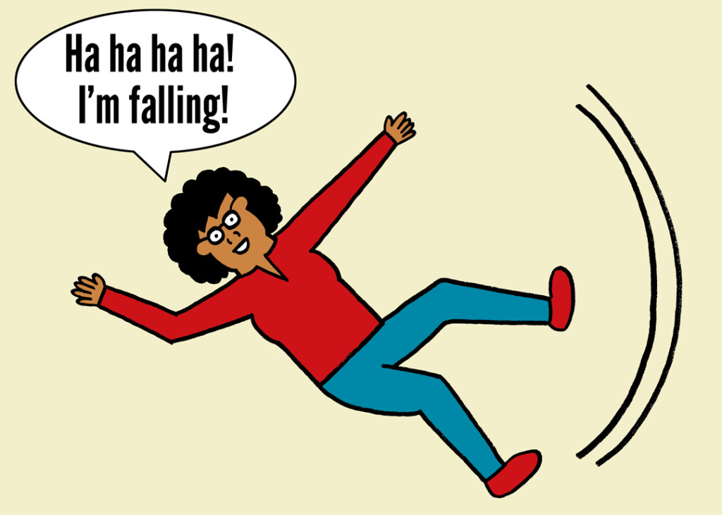 blog.woman is falling and happy about it